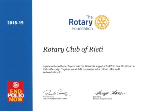 Consegnato attestato presidenziale al Rotary Club di Rieti